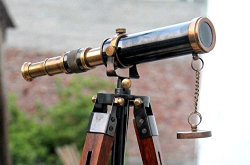 "PIRU Nautical Design Antique Brass U.S Navy Spyglass 9"" Telescope With Wooden 9"" Tripod Marine By ENTERPRISES"