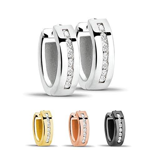 Treuheld® | Creolen/Ohrringe aus 925 Sterling Silver | 4mm x 13mm | Silber mit Glitzer - Kristallen | Klappcreolen für Damen | Set Paar