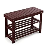 HYNAWIN Bamboo Shoe Rack Bench Three Tier Shoe Organizer Storage Shelf Seat Holder Home Entryway Hallway Furniture