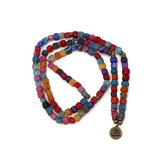 108 Mala Beads Yoga Chakra Pulsera Multicolor Crack Ágata Pulsera y collar de piedra natural Mujeres Hombres