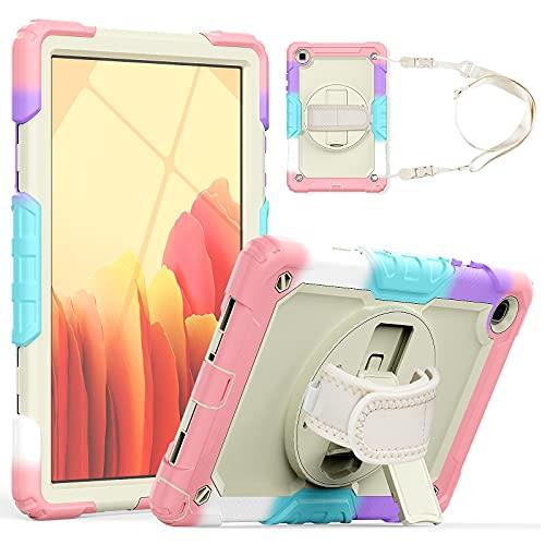 Tablet PC Bag Custodia per tablet per Samsung Galaxy Tab A7 10.4  T500   T505 2020 a tre strati antiurto a disposizione antiurto, con cavalletti rotanti, tracolla PC + copertura protettiva multifunzio