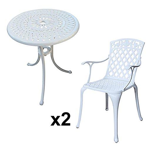 Lazy Susan - EVE 60 cm Bistrotisch mit 2 Stühlen - Rundes Gartenmöbel Set aus Metall, Weiß (Rose Stühle)