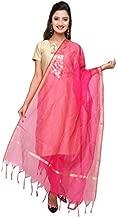 Dupatta Bazaar Women's Solid Chanderi Silk Dupatta With Gold Border Free Size Rani Pink