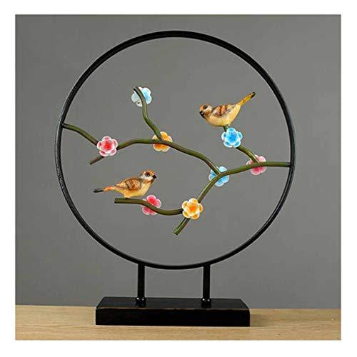 JJJJD-escultura Nuevo Arte Chino Decoración De Pájaros Y Flores Decoración del Hogar Artesanía Decoraciones Sala De Estar Vinoteca Escritorio Artesanía Regalos (Color : C, Size : Small)