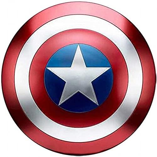 KDDEON Capitán América Shield All Metal 1: 1 Versión de película Handheld Battle Damage Versión Props Bar Iron Decoración Avengers Caps Real Shield Replica Cosplay Props Cumpleaños Regalo A, 60CM /