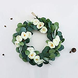 2Krmstr Silk Flower Wreath, Handmade Realistic Flowers and Leaves, Spring Summer Decor Floral, Party Home Decoration