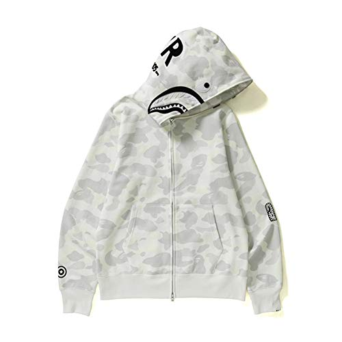 Felpa Hip hop con cappuccio Shark Maglione Ricamato Lettere Luminoso Giacca Bianco Colore M