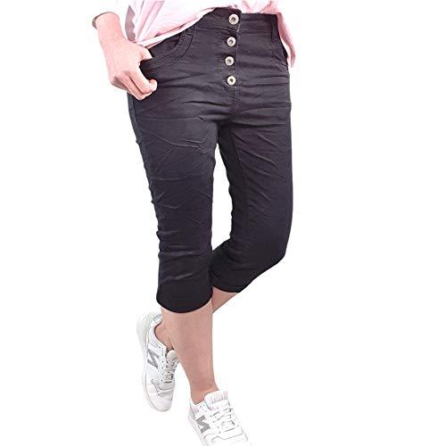 Krempel - Bermuda da donna in denim, pantaloni corti in diversi lavaggi, pantaloncini Nero M