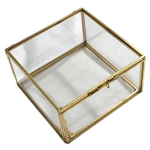 Sharplace Caja Envase Geométrico Terrario Envase Claro de Cristal para Joya Deoración...