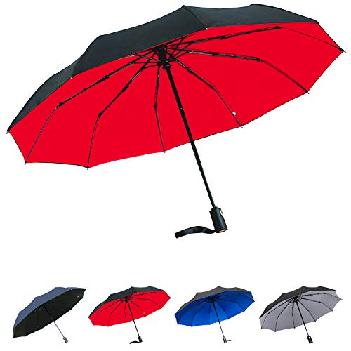 Paimio Regenschirm Taschenschirm Sturmfest Auf-Zu-Automatik Schirm für Damen Herren Rot