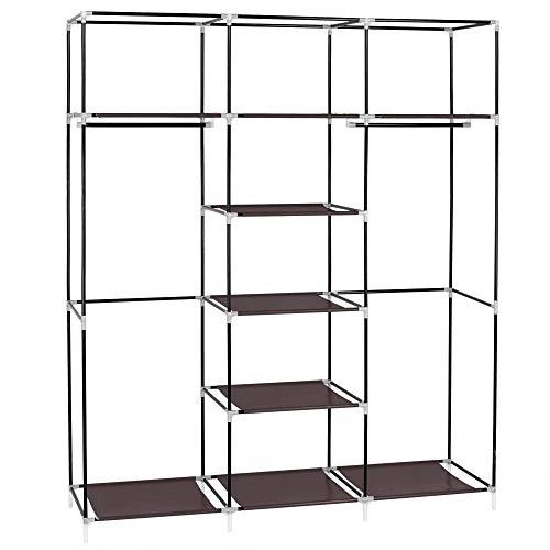 69' Portable Clothes Closet Non-Woven Fabric Wardrobe Double Rod Storage Organizer Dark Brown