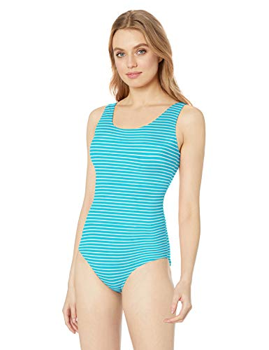 Amazon Essentials Klassischer Damen-Badeanzug, Blue Stripe, US S (EU S)