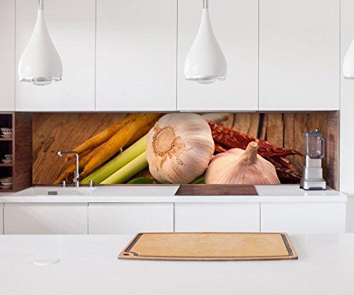 Aufkleber Küchenrückwand Knoblauch Gemüse Küche Spargel Folie selbstklebend Dekofolie Fliesen Möbelfolie Spritzschutz 22A667, Höhe x Länge:80cm x 150cm