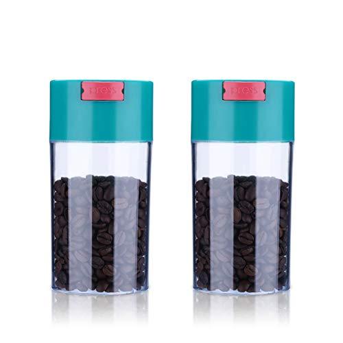 Juego De 2 Botes De Plástico Herméticos para Frasco De Café, Latas De Boca Ancha, Presione El Botón para Descargar CO2, Almacenar Café, Azúcar, Harina, Té,S
