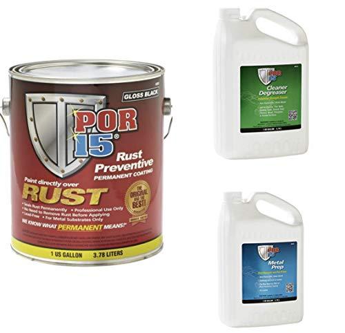 POR-15 45001 Rust Preventative Coating Gloss Black Kit w/Metal Prep & Degreaser