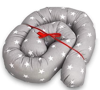 Bettschlange baby Nestchenschlange Bettrolle - 150 cm Bettumrandung Babybettschlange Babybett umrandungen Babynestchen für Kinderbett grau mit weißen Sternen
