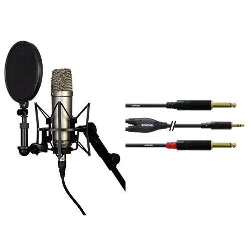 Rode NT-1A  Großmembran-Kondensatormikrofon mit goldbedampfter und elastisch gelagerter 2,5 cm (1 Zoll) Nierenkapsel + Cordial CFY 1,5 WPP Y-Adapterkabel (Klinke 3,5mm stereo gold/2x Klinke 6,3mm mono gold, Länge 1,5m) Bundle