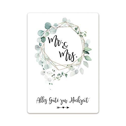Grusskarte Mr. & Mrs. mit Umschlag Glückwunsch-Karte zur Hochzeit Hochzeitskarte Geschenkkarte Trauung Brautpaar