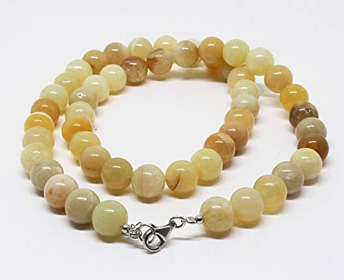Gems-World Beads Beautiful Yellow Opal Beads Necklace, Natural Smooth Round Yellow Opal Beads,Gemstone For Jewelry, 18 Inch Necklace with silver lobster lock Size- 10mm Code:- VCCK-2163