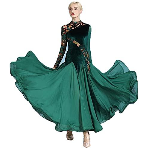 Vestidos de Baile de Saln para Mujeres Disfraz de Baile Latino Flamenco Vals Salsa Vestido de Baile Falda Tango Traje De Rendimiento,Verde,M