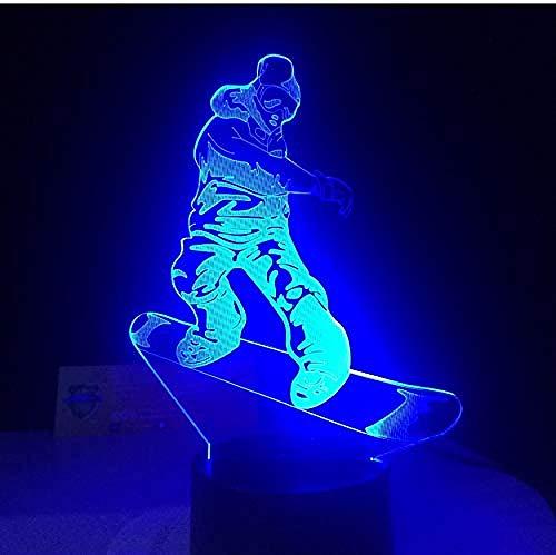 Nachtlicht 3D Optische Täuschung Lampe Snowboard LED Lampe 7 Wechselnde Farben Acryl USB Schreibtisch Tischleuchten Geschenke für den Sport