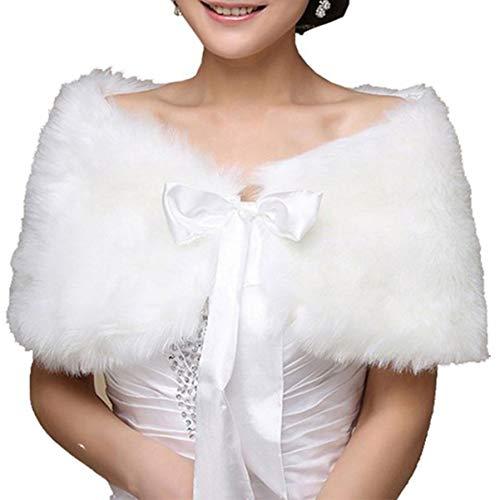 Amosfun - Bufanda de Pelo sintético para Mujer, para Novia, Boda, Piel, muñequeras y Bolero, de imitación de visón, Acero para Mujeres y niñas (Blanco)