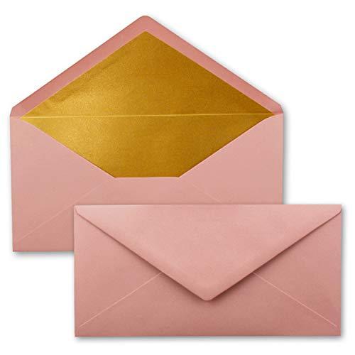 50 Brief-Umschläge DIN Lang - Altrosa (Rosa) mit Gold-Metallic Innen-Futter - 110 x 220 mm - Nassklebung - Festliche Kuverts für Weihnachten