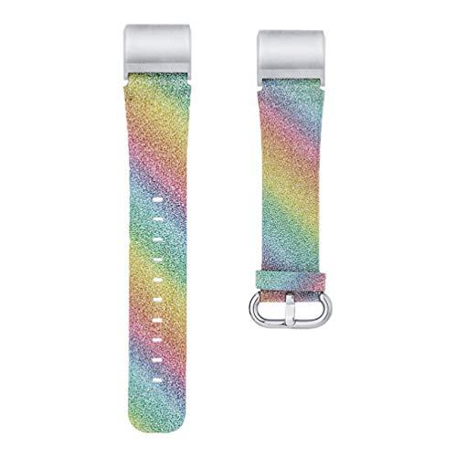 NICERIO Pulseira de relógio compatível com Fitbit Charge 2/3 Rainbow – Pulseira de relógio de couro com glitter para reposição para mulheres e meninas