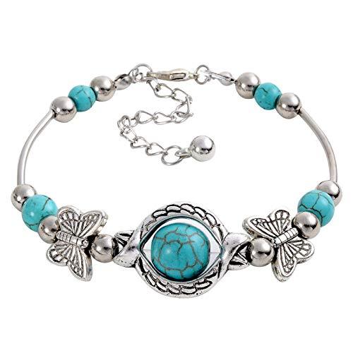 KHOBGLU Dames Armband Vintage Charmante Zilveren Ketting Vlinder Vorm Ronde Blauwe Steen Kralen Armband Sieraden Prachtige Veelzijdige Armband Voor Vrouwen