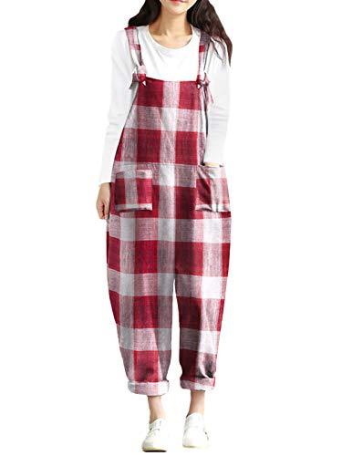Style Dome Latzhose Damen Jumpsuit Sommer Retro Overalls Oversize Lose Hose Lange Baggy Sommerhose Lange Harem Playsuit Trousers H-Red 70805 5XL