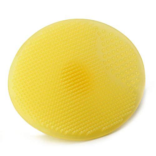 Nettoyant pour la peau nettoyant exfoliant pour le visage avec une brosse de nettoyage pour la peau en silicone, jaune