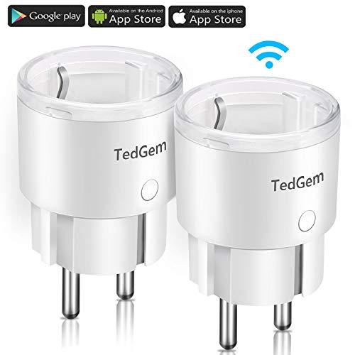 Enchufe Inteligente, TedGem Enchufe WiFi Interruptor Wifi Enchufes Inteligentes Enchufe Inteligente Wifi Smart Mini Monitor Funciona con Amazon Alexa y Google Home/IFTTT