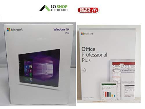 Windows 10 Pro Professional USB Stick + Office 2019 Pro Professional Plus - Italiano - Confezioni Ufficiali - Attivazione Online - Fatturabili
