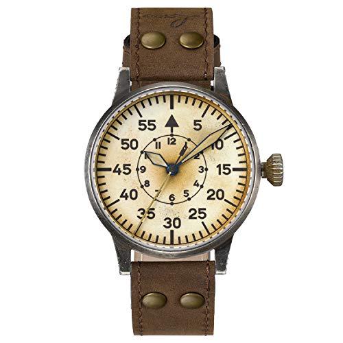 Reloj de aviador original Graz Erbstück de Laco – Fabricado en Alemania – 42 mm de diámetro – Diseño A – Calidad única – Excelente acabado – Resistente al agua – desde 1925