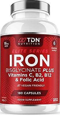 Gentle Iron Capsules 18mg Iron Complex with Vitamin C, B12, B2 & Folic Acid - Iron Supplement for Women & Men - 180 Small High Strength Capsules - 6 Month Supply - UK Made - Vegan Friendly