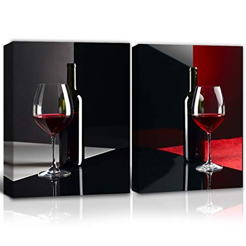 Gardenia Art abstract red wine and bottles canvas Print 2 Panels Modern Painting with Frame, Wall Art for Kitchen Living Room dining room Home Decoration, Ready to Hang (12x16 inches)