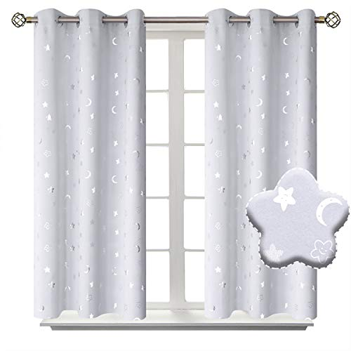 BGment Moon and Stars Blackout Curtains for Kids Bedroom, Grommet Thermal Insulated Room Darkening Printed Nursery Curtains, 2 Panels of 42 x 45 Inch, Greyish White