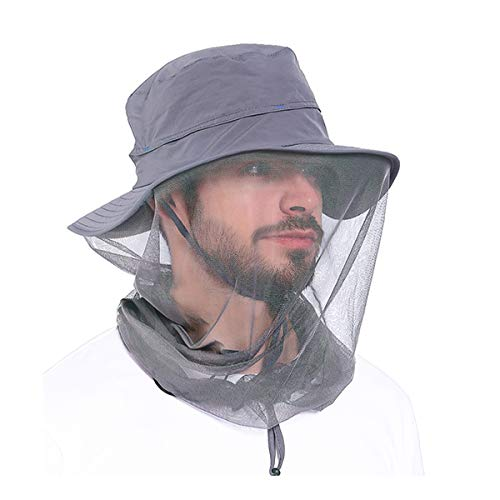 Mosquito Head Net Hat - Sun Hat with Netting for Face and Neck Protection - Fishing Hat for Men Women Gray