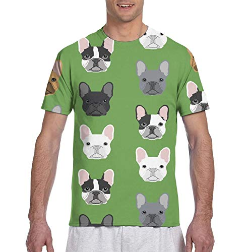 Men's Boys Green Frenchie Dog Shirt Novelty Short Sleeve Shirts Top Tees Big and Tall Size Summer Daily Wear for Gym Holiday Workout, Quick Dry, Moisture Wicking