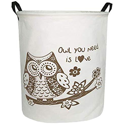 Sanjiaofen Large Sized Storage Baskets,Canvas Waterproof Storage Bin,Collapsible Organizer Baskets for Home,Office,Toy Bins,Laundry Hamper(Owl)