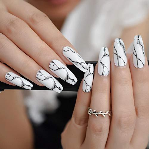 YQSL Uñas postizas Uñas de mármol hechas a mano Uñas largas blancas de ataúd de salón Costura de piedra negra Brillo Uñas falsas Forma de bailarina con pegatinas de pegamento