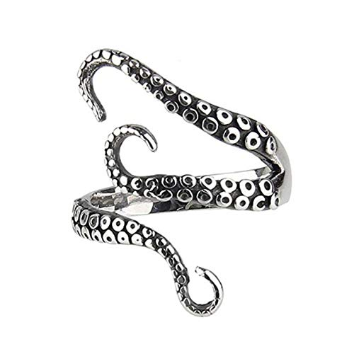 WERR Vintage Stainless Steel Octopus Ring for Women Men Adjustable Polished Tentacles Retro Gothic Punk Style Jewelry Silver Black