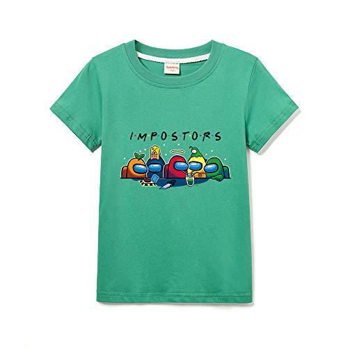 Among Us Camisa De Manga Corta con Cuello Redondo De Color Sólido para Niño Camiseta Casual para Niña (Green,9-10 años)