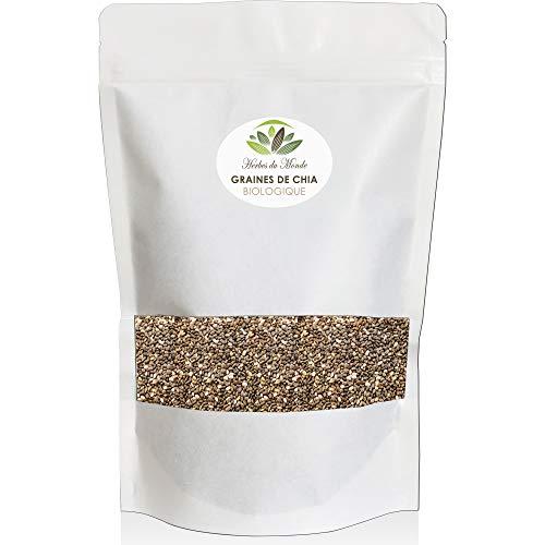 Graines de Chia Naturelles - Salvia hispanica - Riche en acides gras Oméga-3 Oméga-6 - Excellente pour un régime alimentaire sain -Vegan et Sans Gluten - 250g