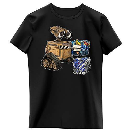 T-Shirt Enfant Fille Noir Parodie Star Wars - Wall-E - Wall-E, Goldorak et R2-D2 - La Grosse boulette. : (T-Shirt Enfant de qualité Premium de Taille 7-8 Ans - imprimé en France)