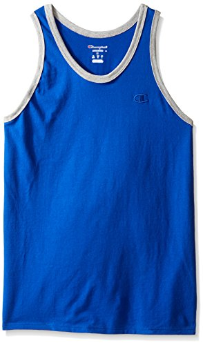 Champion Men's Classic Jersey Ringer Tank Top, Surf the Web/Oxford Gray Heather, L