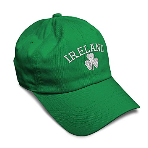 Speedy Pros Soft Baseball Cap Ireland Shamrock White Embroidery Twill Cotton Dad Hats for Men & Women Buckle Closure Kelly Green