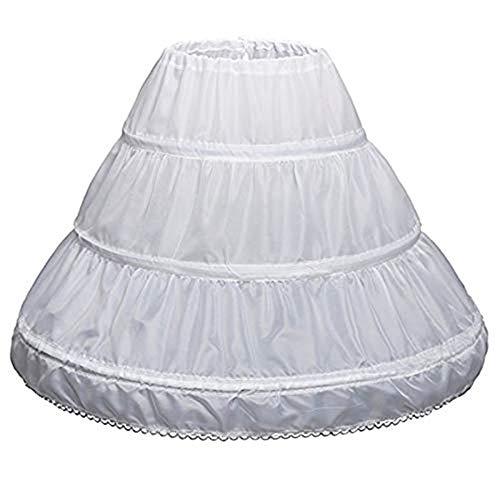 Enaguas Crinolina,Enagua 3 Aros Enagua Nia Corto Flores Enaguas de Volante Elstica Crinolina Falda para Vestidos de Novia Boda Poloster Blanco 55CM