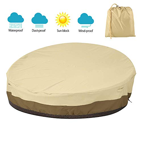 willkey Patio Rattan Daybed Cover Round Waterproof 420D Breathable Oxford Fabric Heavy Duty Lightweight Garden Sofa Furniture Covers