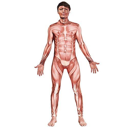Mono Maillot Print Músculos Halloween (Talla S) (+ Tallas) Disfraz Maillot Print Músculos Halloween Disfraz Cuerpo Humano Unisex Adulto Hombre Mujer
